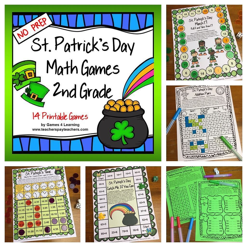 St. Patrick's Day Math Games Second Grade with Shamrocks