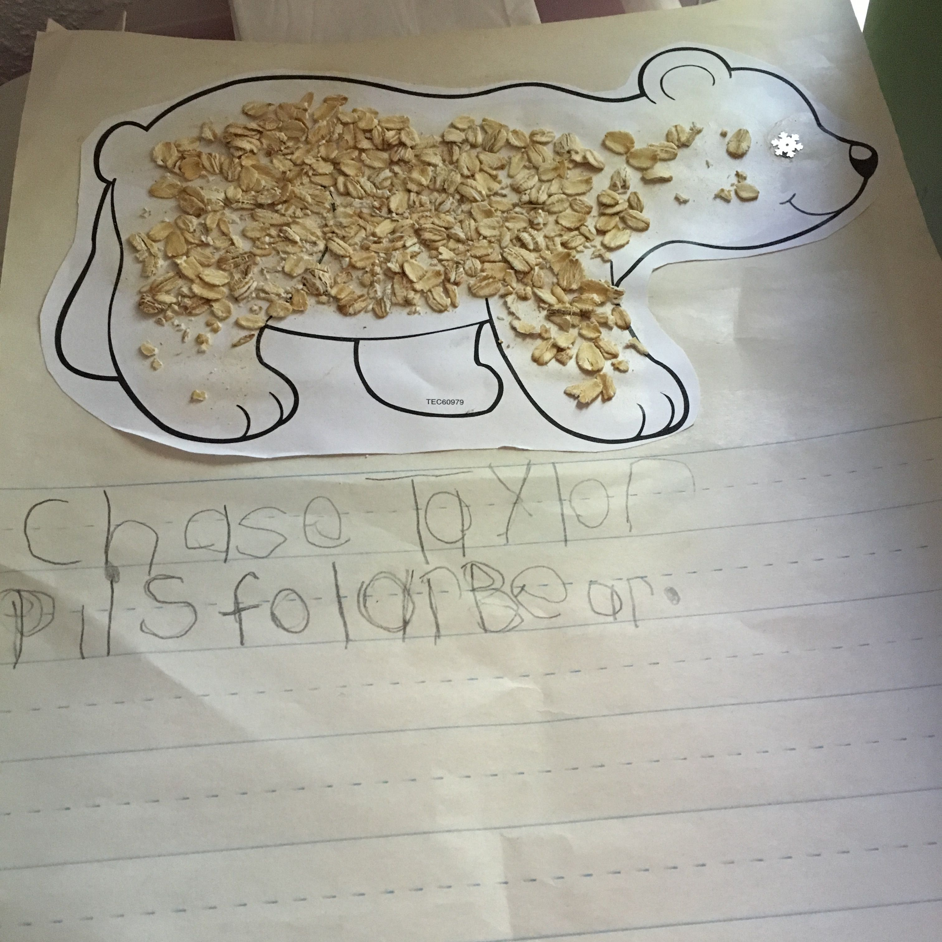 P Is For Polar Bear We Used Oatmeal To Make Textured Polar