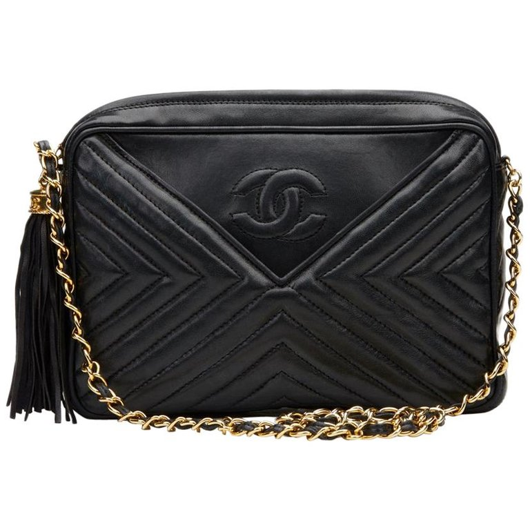34e08291 1987 Chanel Black Chevron Quilted Lambskin Vintage Timeless ...