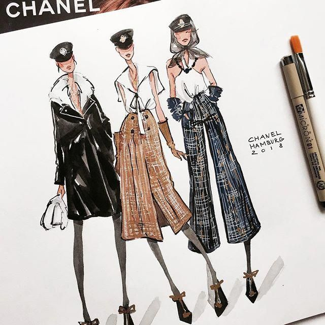 Every Scroll On Your Instagram Feed Can Be Like Searching A Fashion Magazine If You Follow The Best Individuals Illustration De Mode Dessin De Mode Mode Chanel