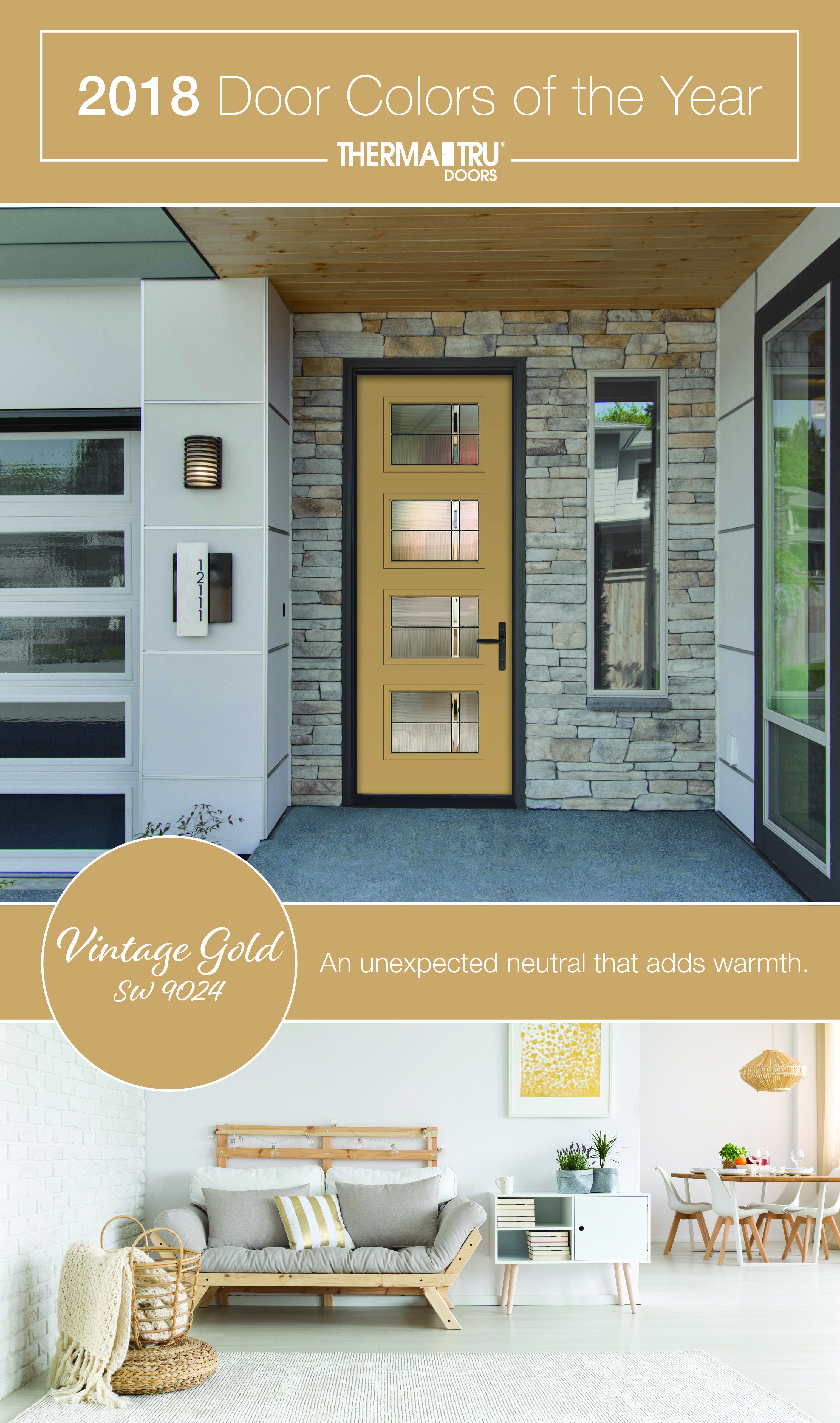 2018 Therma Tru Door Colors Of The Year Vintage Gold Sherwin Williams 9024 Pulse Ari Painted With Axis Gl And Flat Lite Frame Get