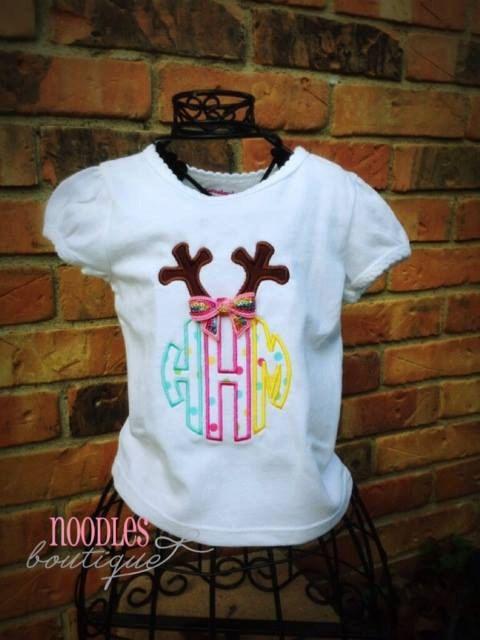 Reindeer Antler Monogrammed Applique Shirt by NoOdLeSBoutique
