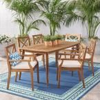 Noble House Llano Teak Brown 7-Piece Wood Outdoor Dining Set with Cream Cushions