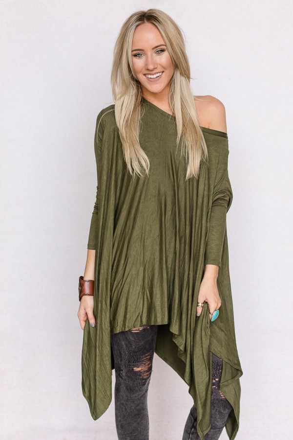 Long Sleeve Trapeze Top In Olive Green