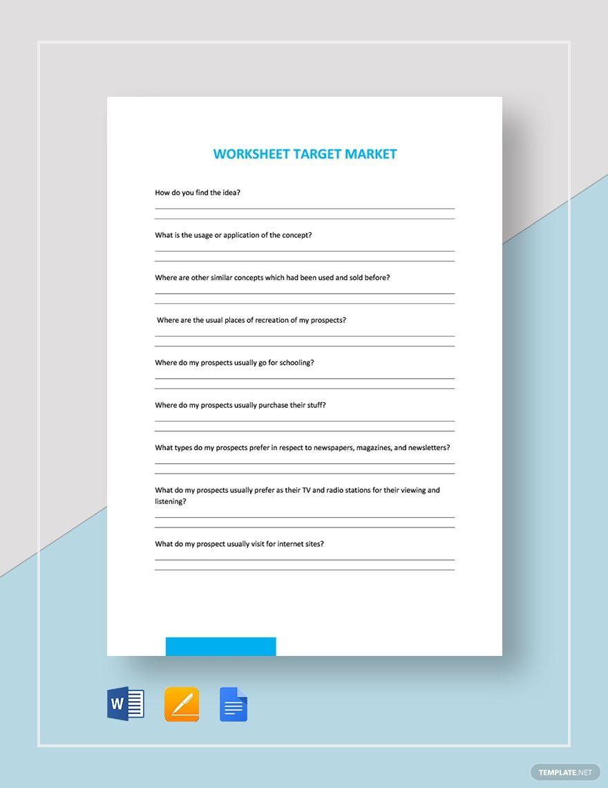 Worksheet Target Market Template In 2020 Templates Worksheets Target Market
