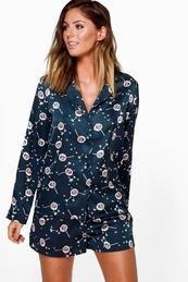 Leah Satin Dandelion Long Sleeve and Shorts PJ Set