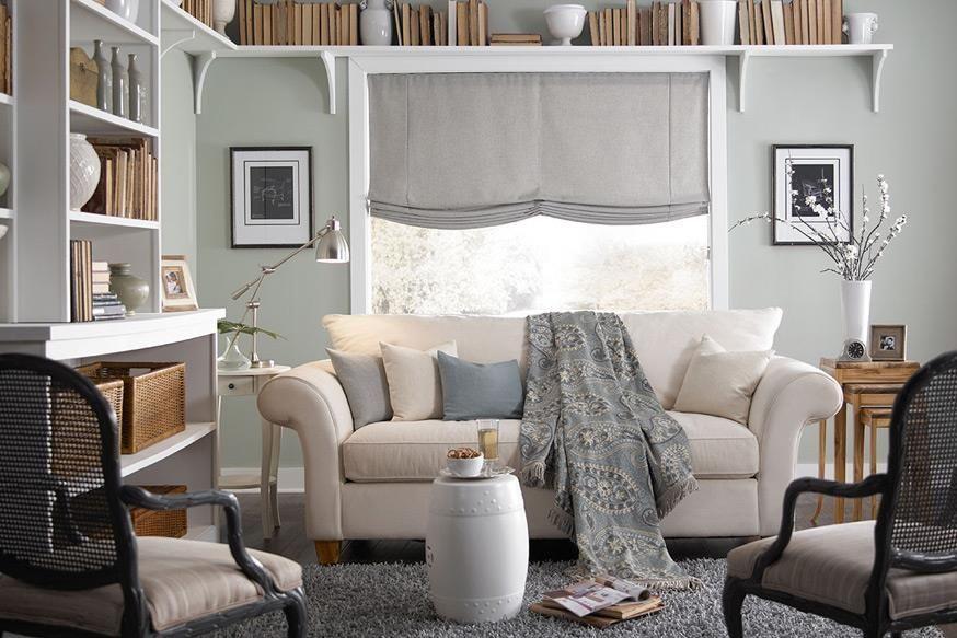 Interior Masterpieces Casual Roman Shades | Living Room Window Treatments | Lafayette Interior Fashions #shades #windowtreatments