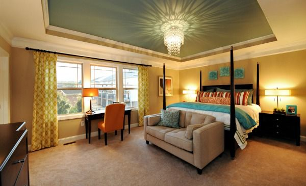 with a painted tray ceiling and a chandelier this master on discover ideas about master dream bedroom id=41584
