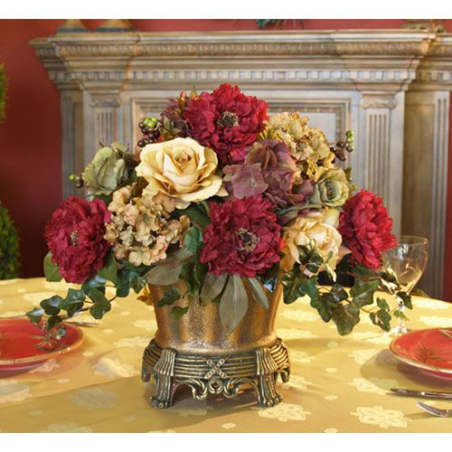 Garnet Peony And Hydrangea Silk Floral Centerpiece Home Decor Florals Arrangements Dining Room