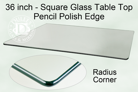 36 Inch Square Glass Table Top 3 8 Inch Thick Pencil Polished