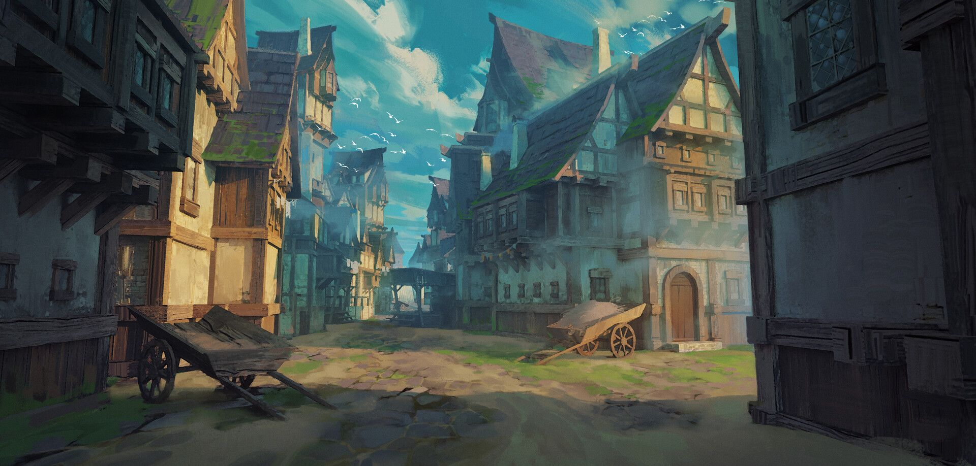 Artstation Medieval Town Tutorial Roman Kuteynikov Fantasy Town Fantasy Landscape Environment Concept Art