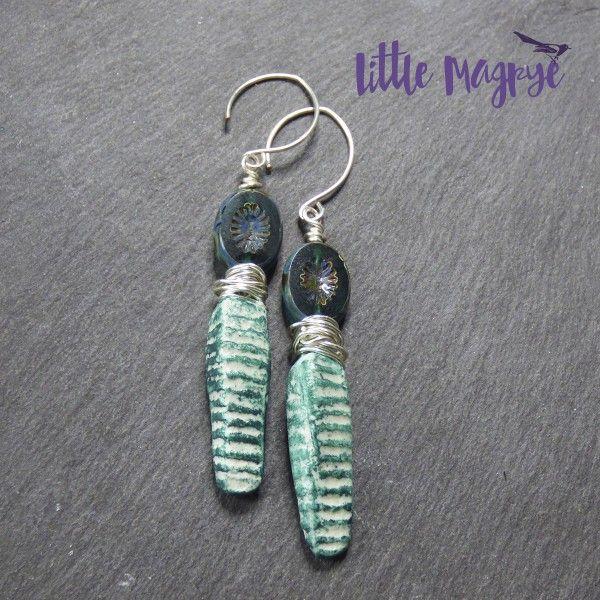 Emerald green polymer clay spike earrings