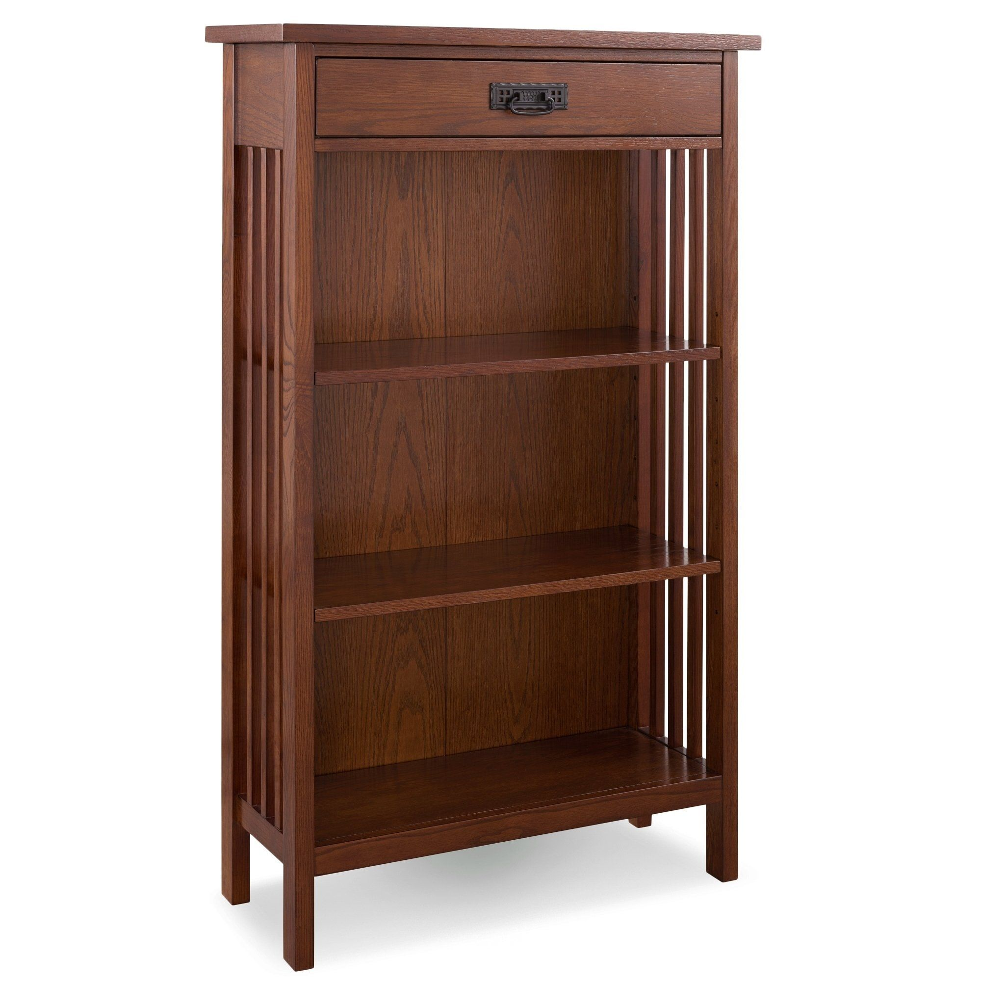 Mission Oak Slatted Mantel Height 3 Shelf Bookcase With Drawer Storage By Leick Home Brown Kd Furnishings Bookcase With Drawers Oak Bookcase Bookcase