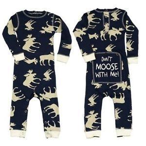 edd5553fa Lazy One Infant Blue Classic Moose Flapjack Pajama s PJs Don T Moose ...