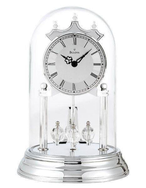 Bulova Tristan Polished Chrome Finish Anniversary Clock Rotating Pendulum