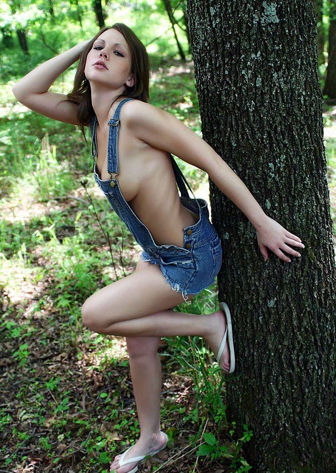 Woman bib boob bondage
