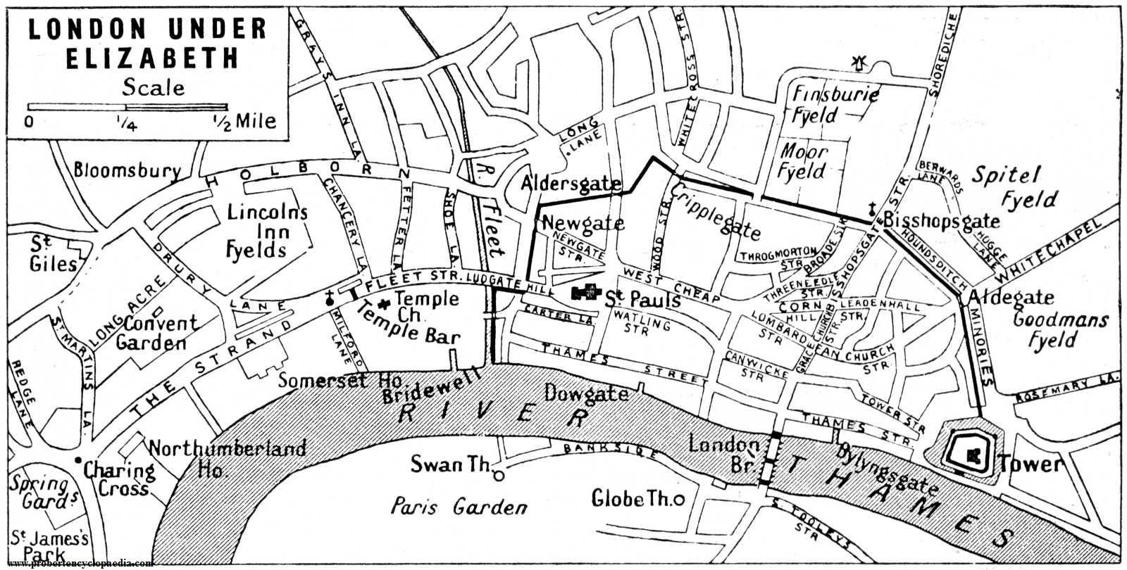 Map Of Elizabeth S London