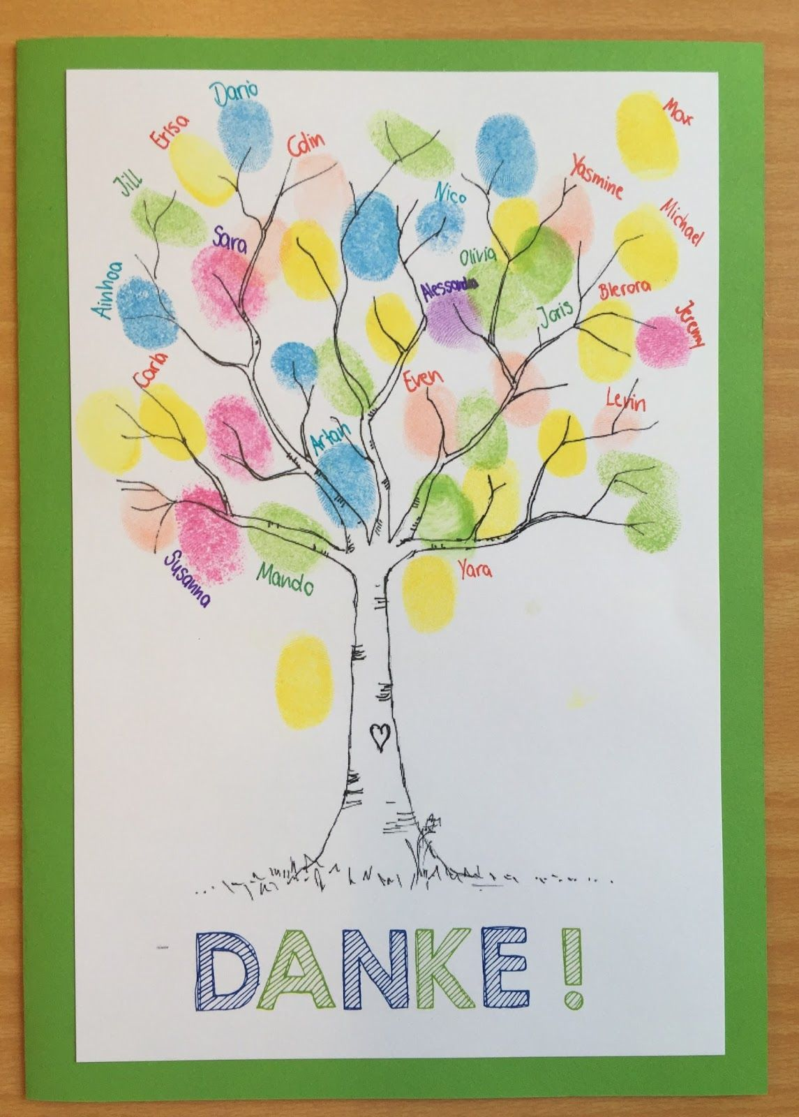 Klassenkunst dankeskarte basteln klassenzimmer - Abschiedsgeschenk ideen ...