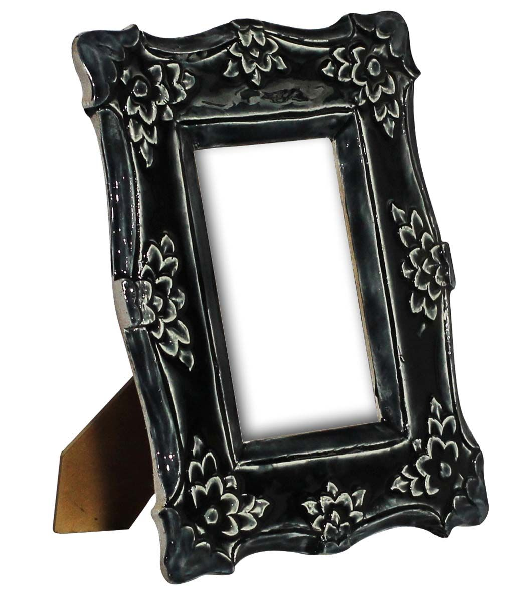 Bulk Wholesale 10 Rectangle Shaped Black Color Photo Frame Picture Stand With Floral Motifs Handmade In Acrylic Compressed Wood Table Top Accessories