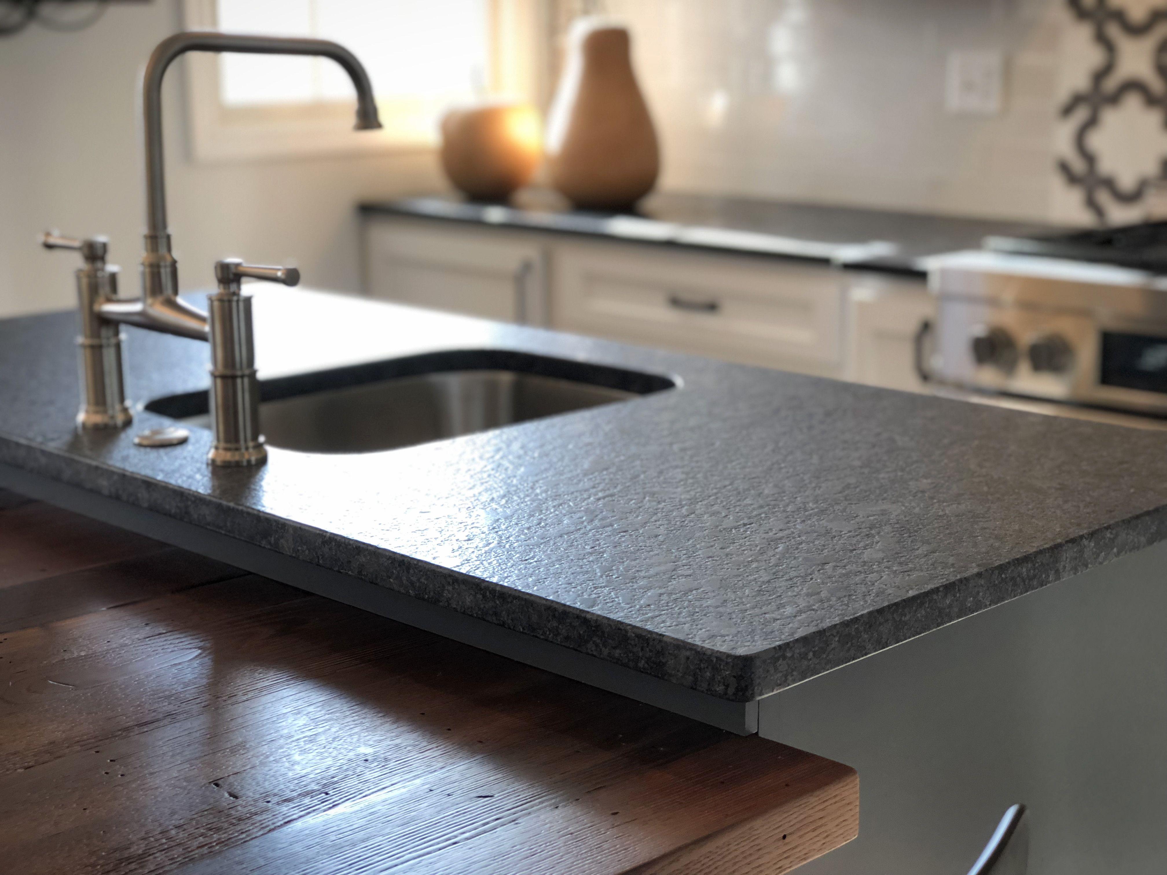Steel Gray Leathered Granite Countertop