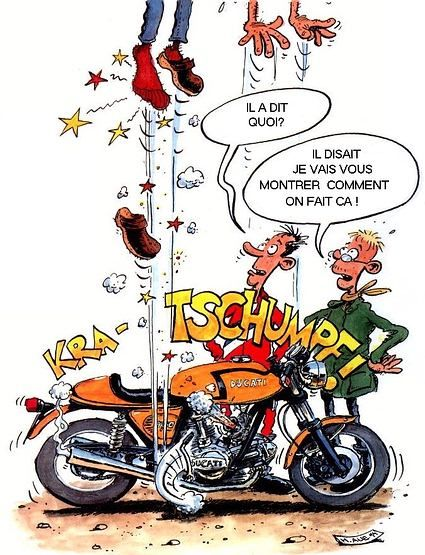 Photos De Moto By Freebiker Net Kick Humour Motard Caricature Drole Moto Et Motards