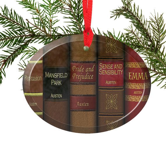 Jane Austen Beveled Gl Christmas Tree Ornament