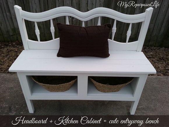 Headboard Entryway Bench | My Repurposed Life | Bloglovin'