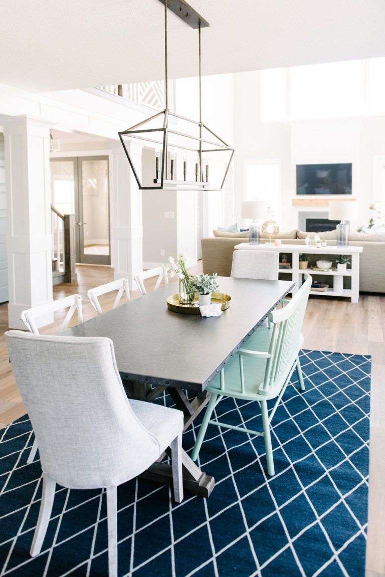 Beautiful navy and white dining room space with mint green ...