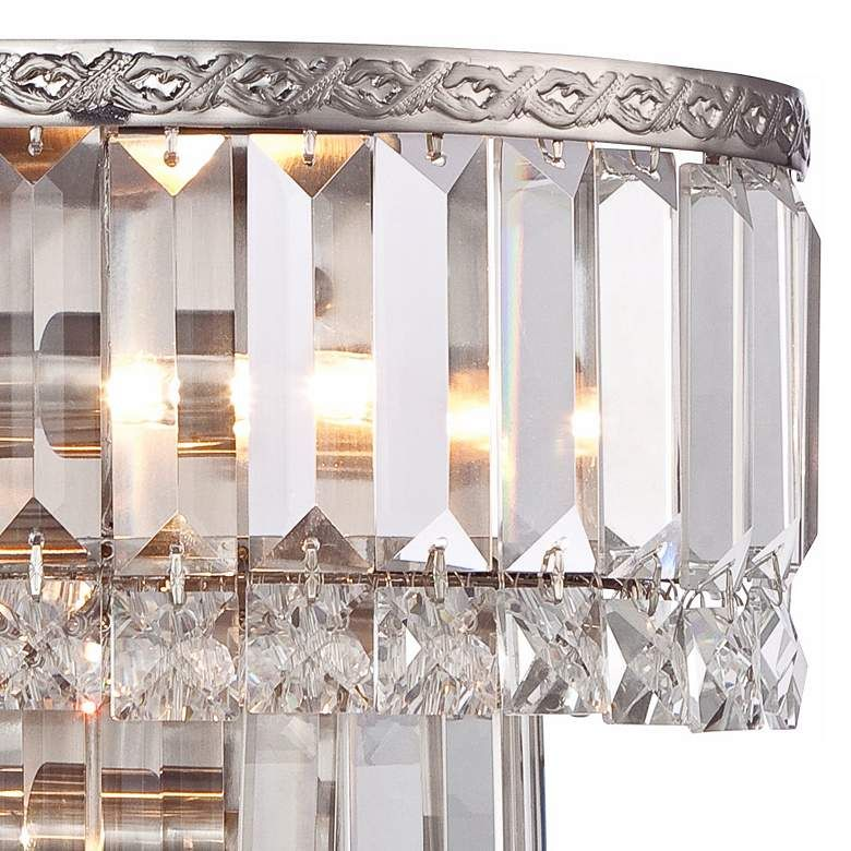 Magnificence Satin Nickel 10 Wide Crystal Wall Sconce 6c997 Lamps Plus Crystal Wall Sconces Crystal Wall Wall Sconces