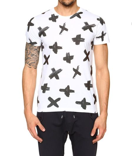 WHITE COTTON T-SHIRT WITH X PRINT