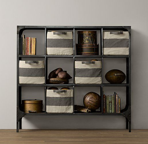 Playroom closet idea- Foundry Metal Cubby System - Wide | Bookcases & Storage | Restoration Hardware Baby & Child