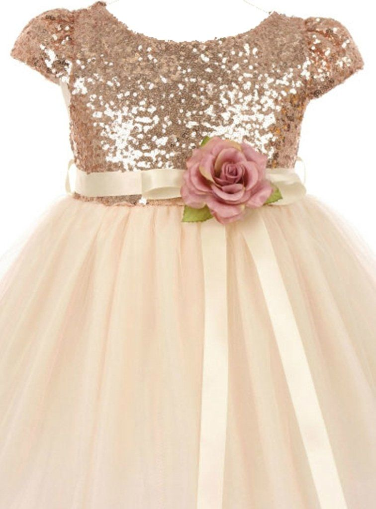 Amazon.com  AkiDress Classic Baby Sequins Bodice Shinny Flower Girl Dress  for Little Girl  Clothing a628124afc5b