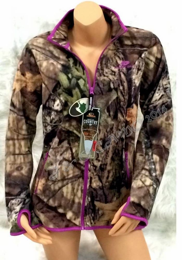 NEW 2015! Women's Mossy Oak Soft Camo Purple Micro Fleece Jacket ...