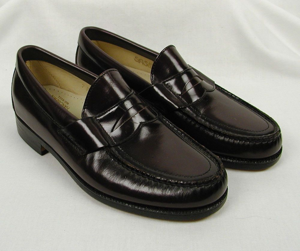 4fc2d50a4 SAS Handsewn Penny Loafers Shoes Size 7 M Burgundy Slip On USA 423814  SAS   LoafersMoccasins