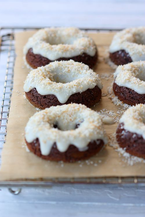 The Spunky Coconut: Chocolate Doughnuts (grain-free, gluten-free) = egg + almond butter + coconut milk + cocoa powder. Coconut butter frosting.
