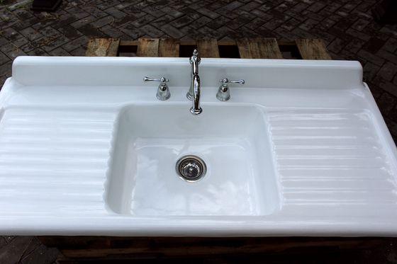1947 Large Refinished 54 Farm Sink Double Drainboard Single Basin