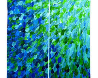OCEAN Splash Teal Blue Green Waves Fine Art Window Curtains Multiple Size Abstract Painting Decor Bedroom