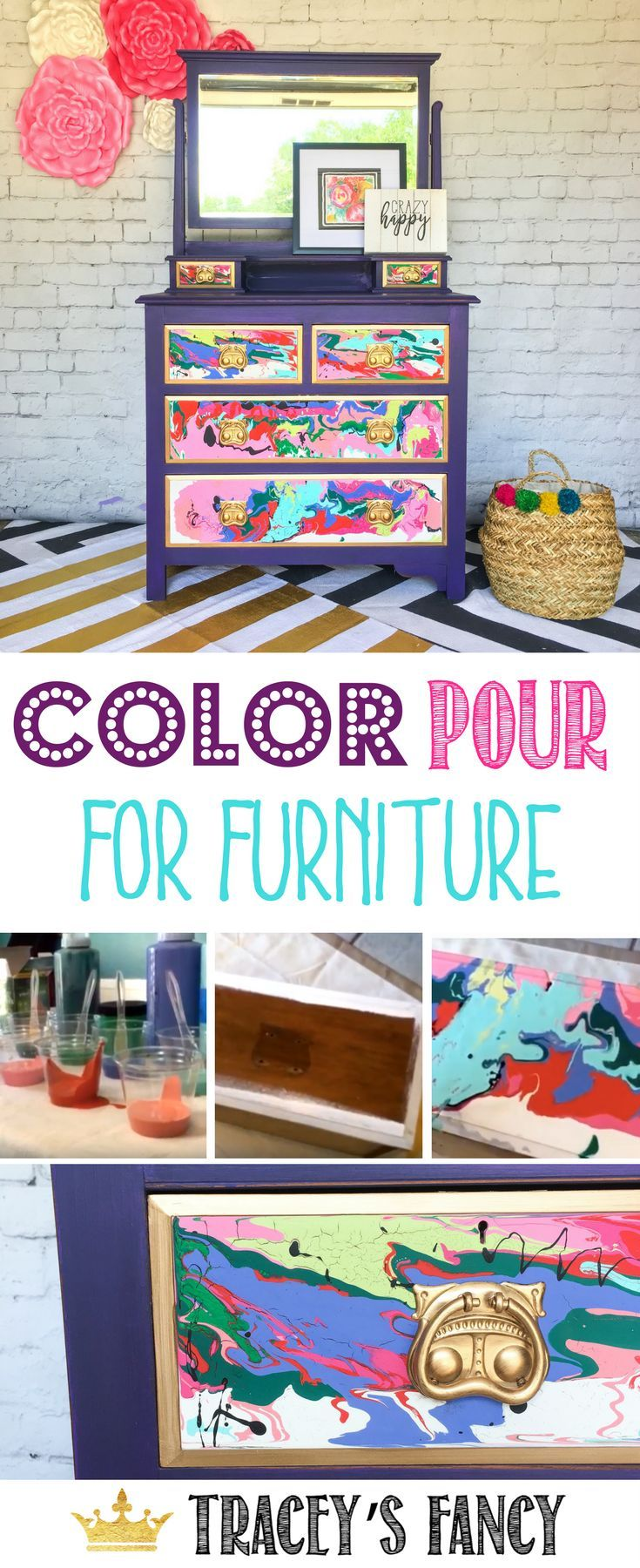 Furniture Pour Painting How To Abstract Art On Furniture