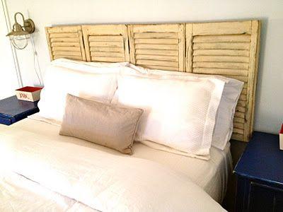 cabecero hecho con una contraventana   Madera: Muebles, closets ...