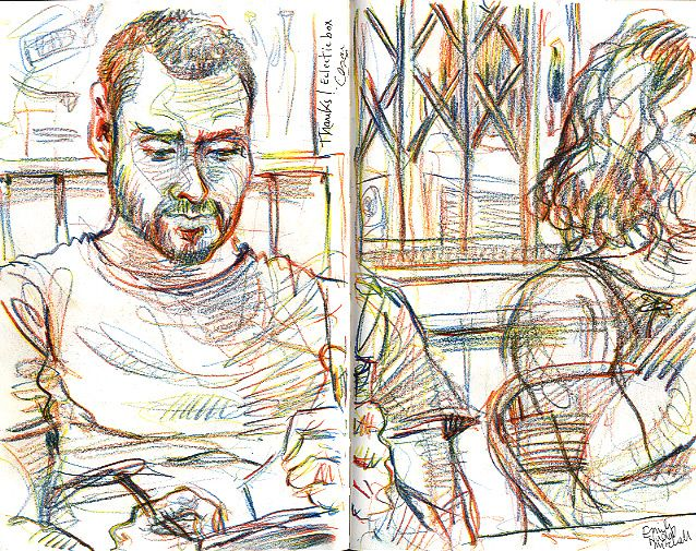 Lynne Chapman - Being sketched while I sketch!    In a bar in Barcelona, drawing after dinner.    Rainbow-pencil