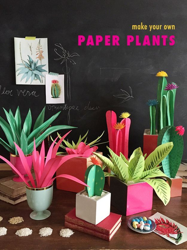 50 Fun DIYs for Adults - Paper crafts diy, Paper cactus, Paper crafts, Paper plants, Paper flowers, Crafts - Looking for some cool DIY ideas and easy crafts for adults to make  We have 50 fun adult crafts and DIYs, easy craft ideas you are sure to enjoy making