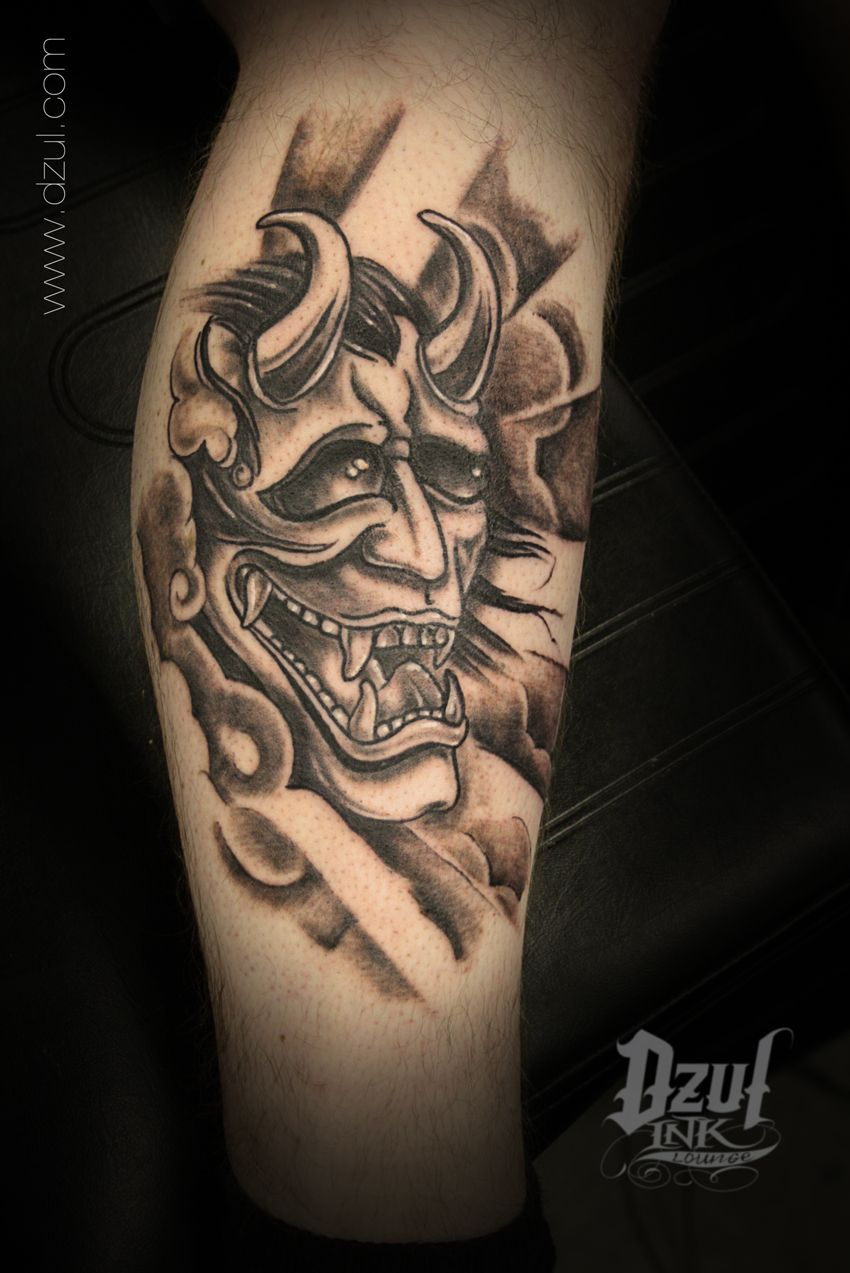 44 best gas mask tattoos collection - Classic Asian Demon Mask Tattoo By Jacob Www Dzul Com