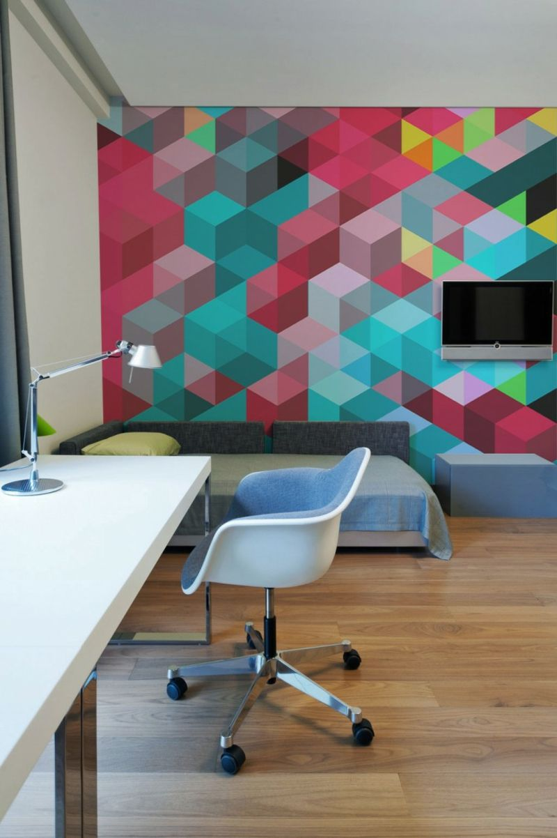 Uberlegen Wanddesign Ideen Geometrisch Motiv Bunt Kontrast Wuerfel Schlafzimmer