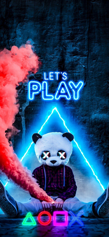 Let S Play Panda Wallpaper Panda Mask Neon Smoke Gamer Gaming Ilustrasi Komik Ilustrasi Karakter Ilustrasi Poster