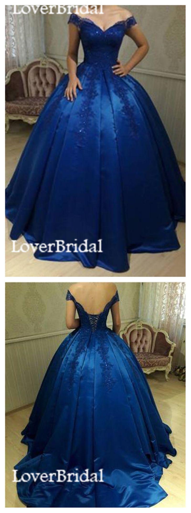 Royal blue off shoulder lace a line long evening prom dresses