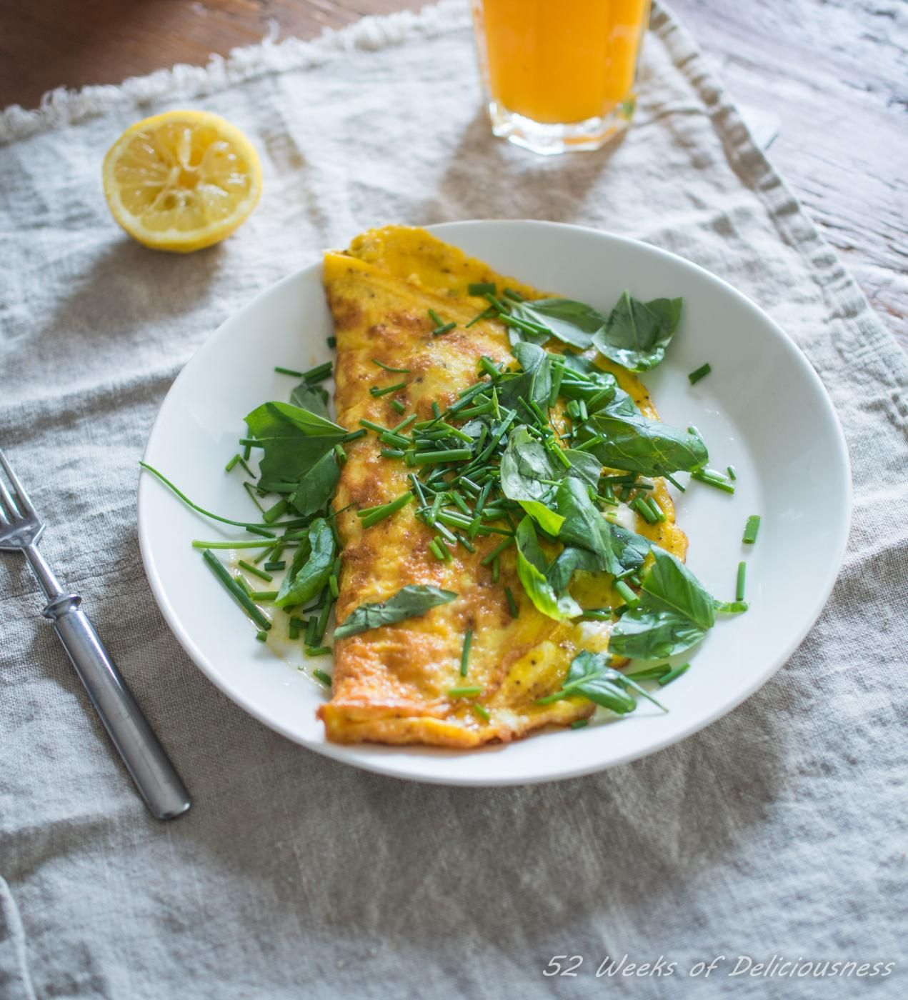 Breakfast Omelette with Feta and Herbs