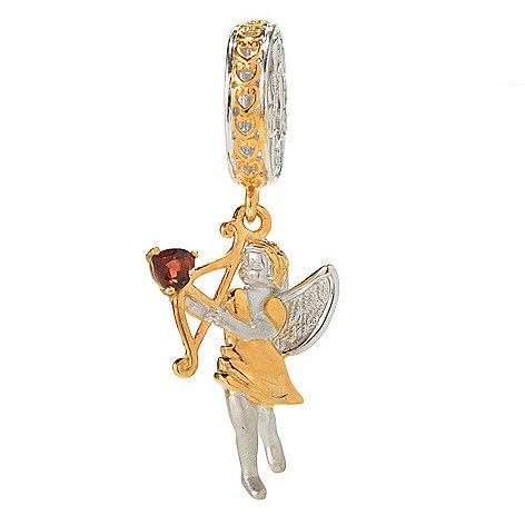 145-377- Gems en Vogue Almandine Garnet Heart Sculpted Cupid Drop Charm