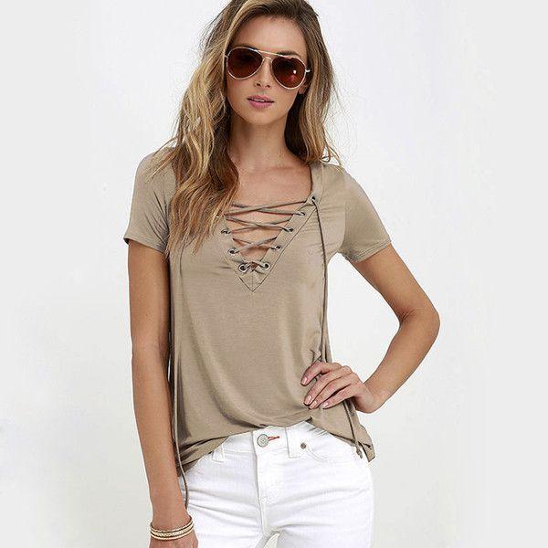 Women Blouses 2017 Summer Fashion Sexy Front Lace Up Strappy Tunic Shirts  Tops Short Sleeve V-Neck Bandage Blusas Plus Size XL 5ab46687e709