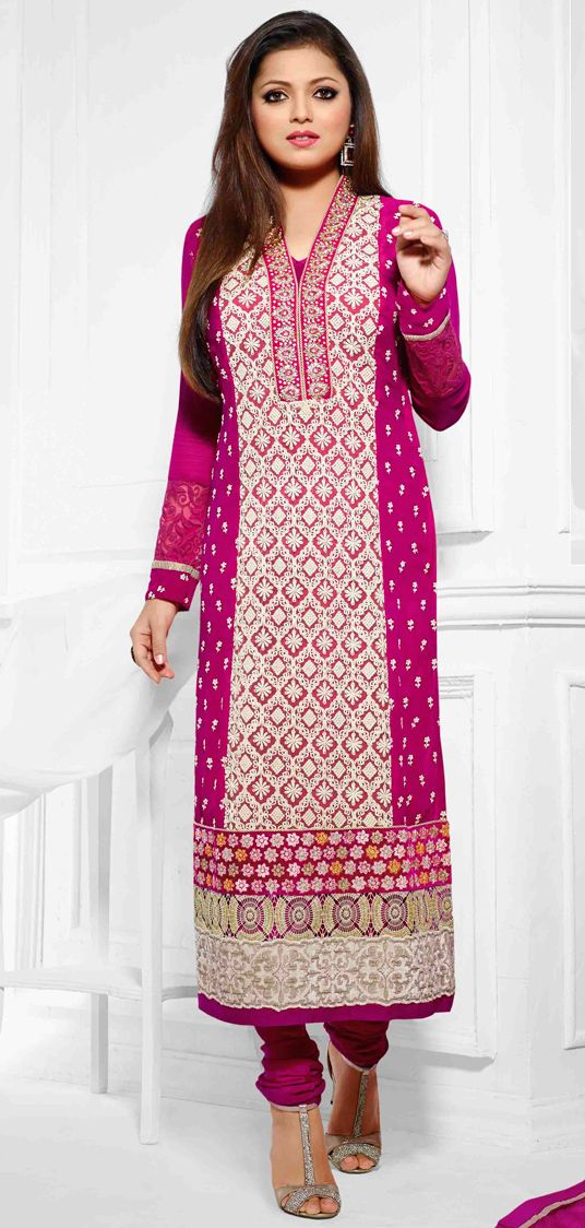 USD 60.27 Pink Georgette Embroidery Churidar Suit 47270 | mujer ...