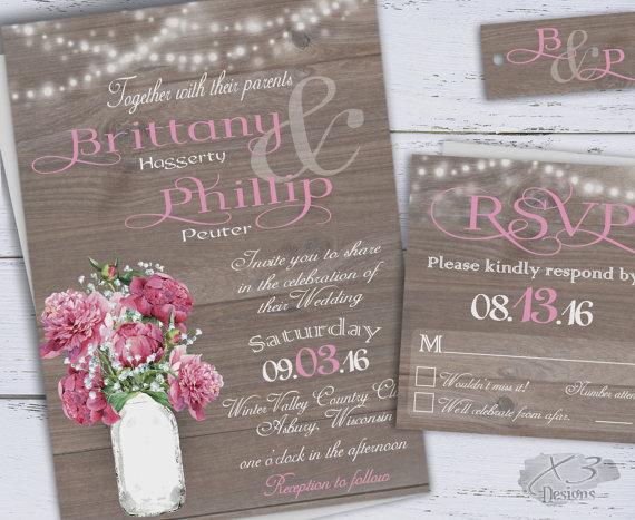 Rustic Diy Printable Wedding Invitation Spring Wedding